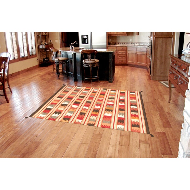 """Rustic Pasargad's Navajo Style Hand-Woven Rug - 5' X 6' 9"""" For Sale - Image 3 of 3"""