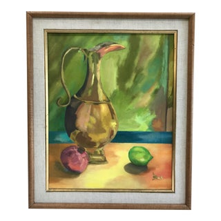 Large 1960's Colorful Acrylic Still Life Painting