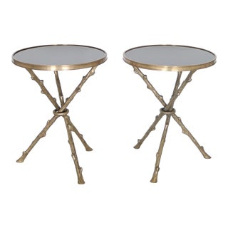 Maison Baguès French Hollywood Regency Faux Bamboo Side Tables - a Pair For Sale