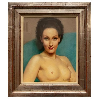 1920s Pastel Portrait Female Nude by Listed Artist Robert Louis Raymond Duflos For Sale