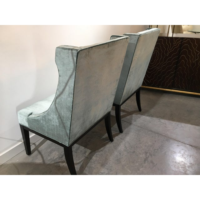 2010s Velvet Designmaster Furniture Franklin Host Wing Chairs - a Pair For Sale - Image 5 of 11