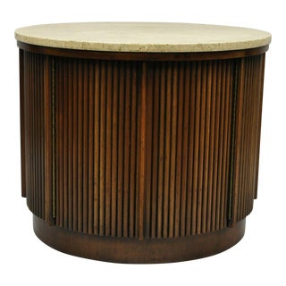 Lane Mid Century Modern Round Travertine Walnut Occasional Drum Table Cabinet For Sale