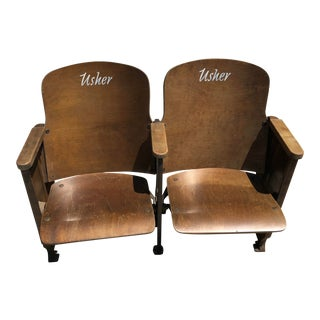 "Vintage Art Deco Cast Iron and Wood Church ""Usher"" Chairs - Design Patent 96807 For Sale"