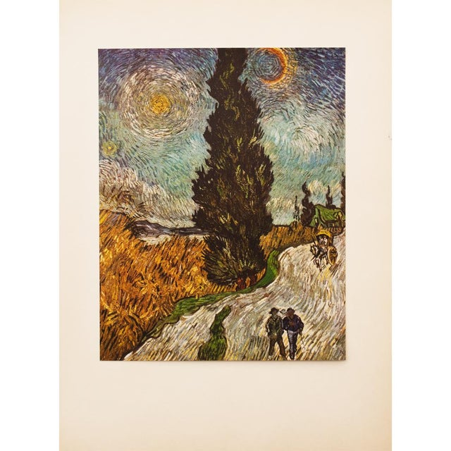 """Blue 1950s Van Gogh, First Edition Vintage Lithograph """"Road With Cypresses"""" For Sale - Image 8 of 8"""