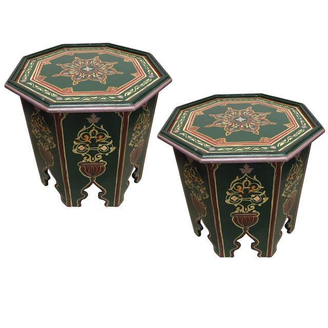 Islamic Moroccan Hand Painted Table With Moorish Designs For Sale - Image 3 of 12
