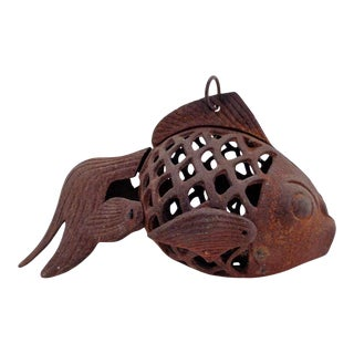 Vintage Koi Fish Iron Garden Hanging Lantern For Sale