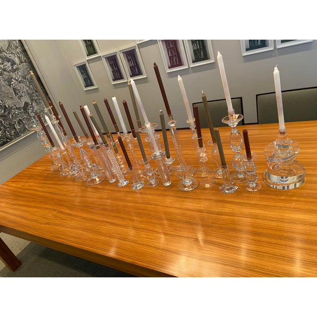 Transparent Juliska Hand Blown Crystal Candleholders - a Pair For Sale - Image 8 of 13