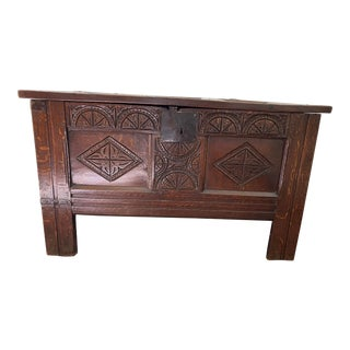 17th Century English Oak Blanket Chest For Sale