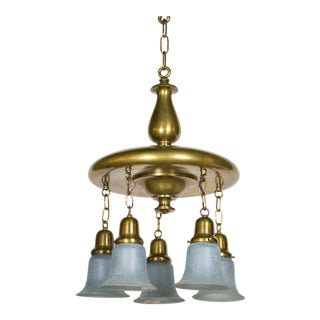 Antique Brass Blue Hanging Glass Light For Sale