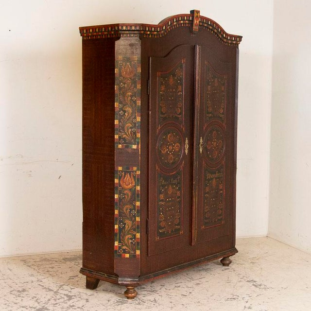 Antique 2 Door Hungarian Armoire With Original Folk Art Paint For Sale - Image 13 of 13