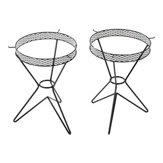 Atomic Three Hairpin Leg Tables After Tony Paul Fredrick Weinberg Iron Wire Mesh Tripod - a Pair For Sale