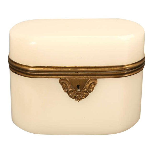 Circa 1900 French Opaline Glass Box For Sale