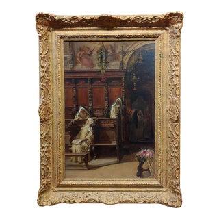 Francesco Bergamini -The Convent -19th Century Oil Painting For Sale
