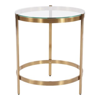 Contemporary Kenneth Ludwig Chicago Brushed Brass Round Side Table For Sale