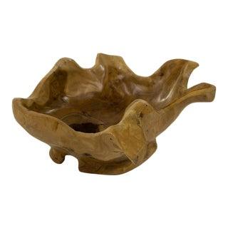 Primitive Hand-Carved Wooden Bowl