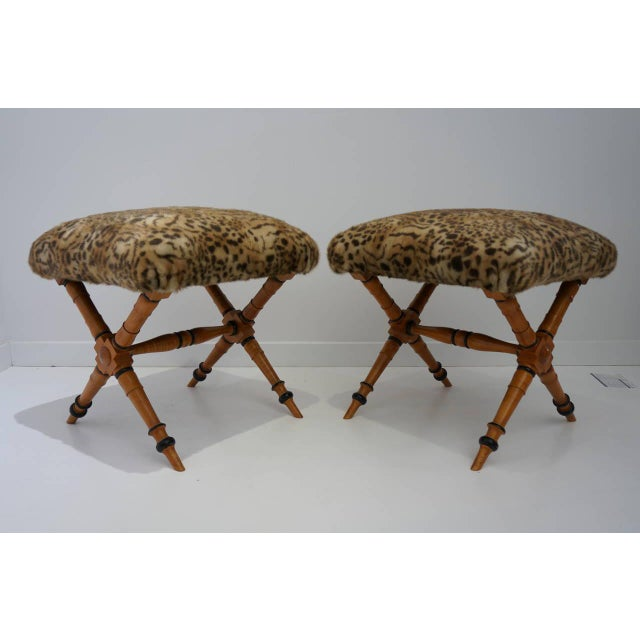 Pair of Vintage Biedermeier Style X-Stools With Faux Fur Upholstery For Sale - Image 10 of 11