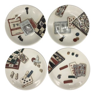 French Games Plates - Set of 4 For Sale