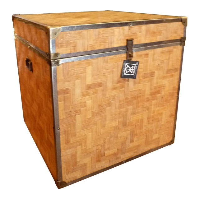 Woven Wood Storage Trunk - Image 1 of 10