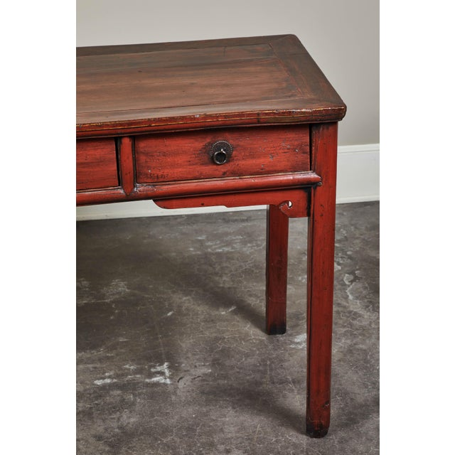 Red 19th C. Cinnabar Lacquer Console For Sale - Image 8 of 9