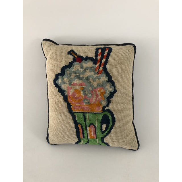 """1970s Midcentury Fine Handmade Needlepoint """"Soda Fountain Float"""" Pillow 12""""x13"""" For Sale - Image 5 of 5"""