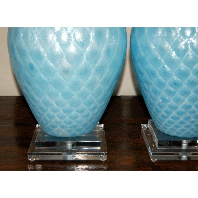 1950s Galliano Ferro Vintage Murano Glass Table Lamps Blue For Sale - Image 5 of 9