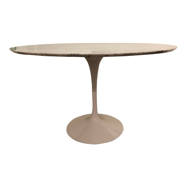 Room and Board Carrara Marble White Tulip Table For Sale