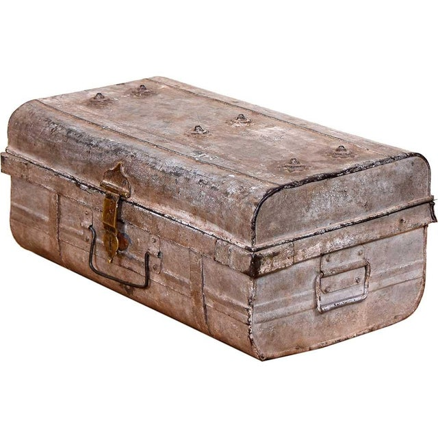 1950s Blushed Gray Iron Traveler's Trunk - Image 1 of 5