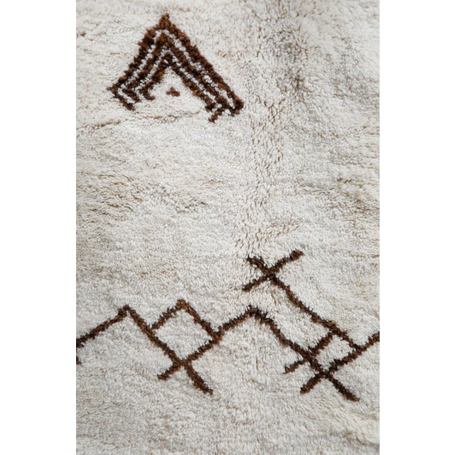 "Berber Tribes of Morocco ""Symbol"" White Moroccan Berber Rug With Brown Tribal Symbols - 8'7"" X 5'2"" For Sale - Image 4 of 13"