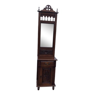 Victorian Carved Mahogany Small Entryway Hall Tree With Mirror For Sale