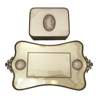 Antique Brass and Pink Jasperware Box and Vanity Tray For Sale