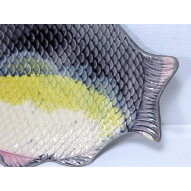 Antique 1880s Majolica Fish Relish Tray For Sale - Image 10 of 11