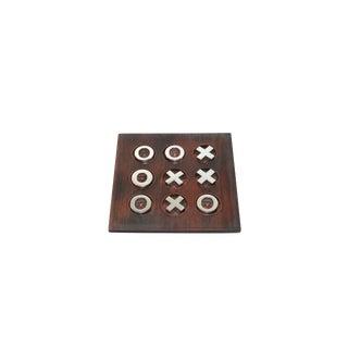 Vintage Wood & Chrome Tic Tac Toe Game