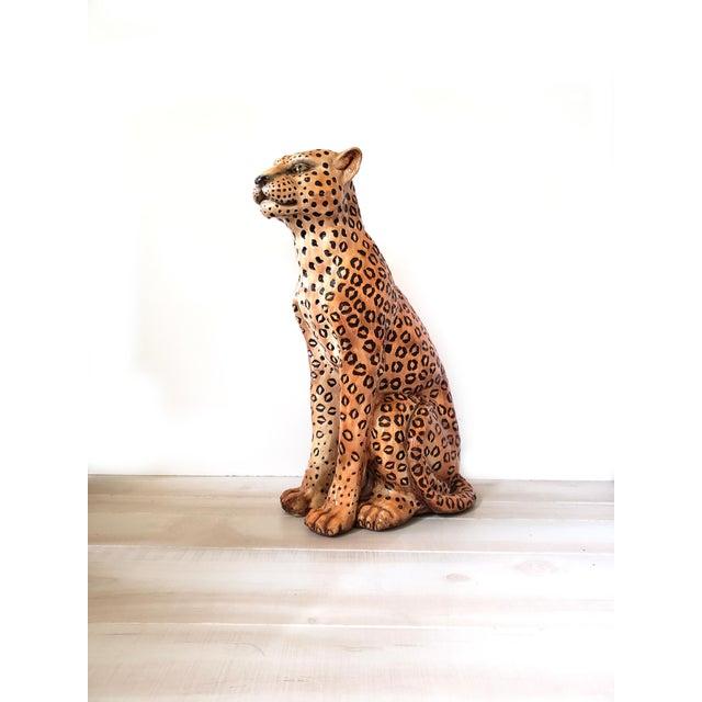 Hollywood Regency 1970s Vintage Life Size Ceramic Cheetah Sculpture For Sale - Image 3 of 4