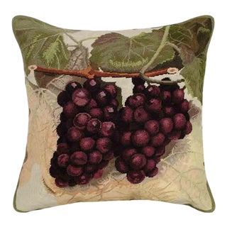 Grape Vine Petit Point Accent Pillow For Sale