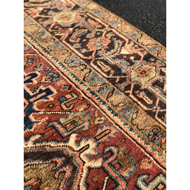 This is a gorgeous thick and soft Old Vintage Persian Heriz rug in incredible condition and will last another 100yrs....