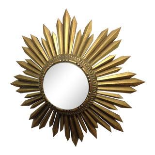 Gold Giltwood Framed Sunburst Mirror For Sale