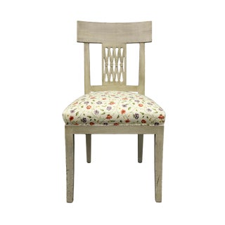 Vintage Mid Century Crisscross Back Floral Print Chair For Sale