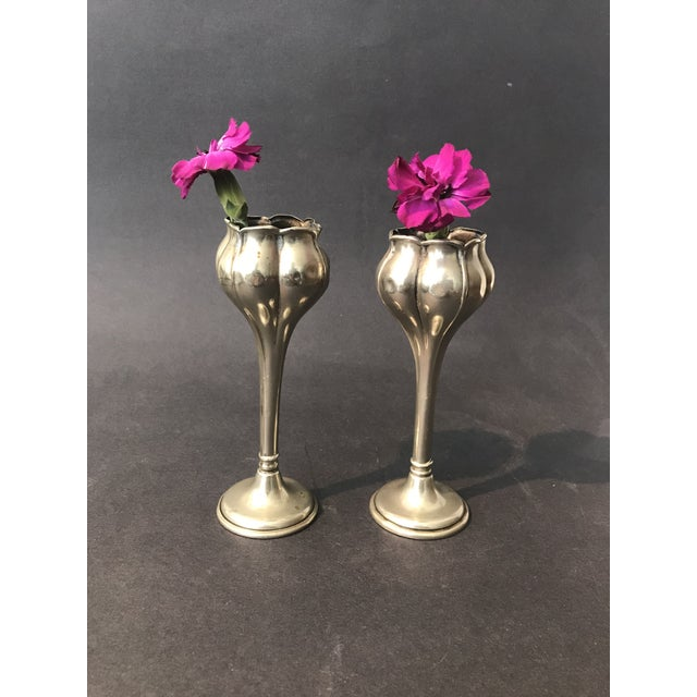 Wonder pair of silver plated Art Nouveau bud vases with great form. Origin: America Period: 1895 - 1905 Condition: Good,...