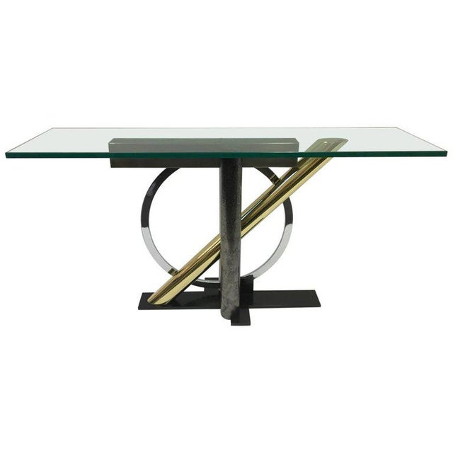 Mixed Metals and Glass Console Table by Kaizo Oto for DIA For Sale - Image 9 of 9