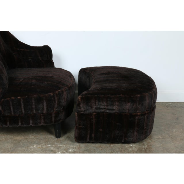 Furry Lounge Chair with Ottoman - Image 7 of 11