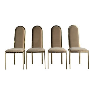 1980s Dining Chairs in Brass For Sale
