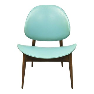 Mid Century Danish Modern Kodawood Seymour James Wiener Blue Clam Shell Chair For Sale