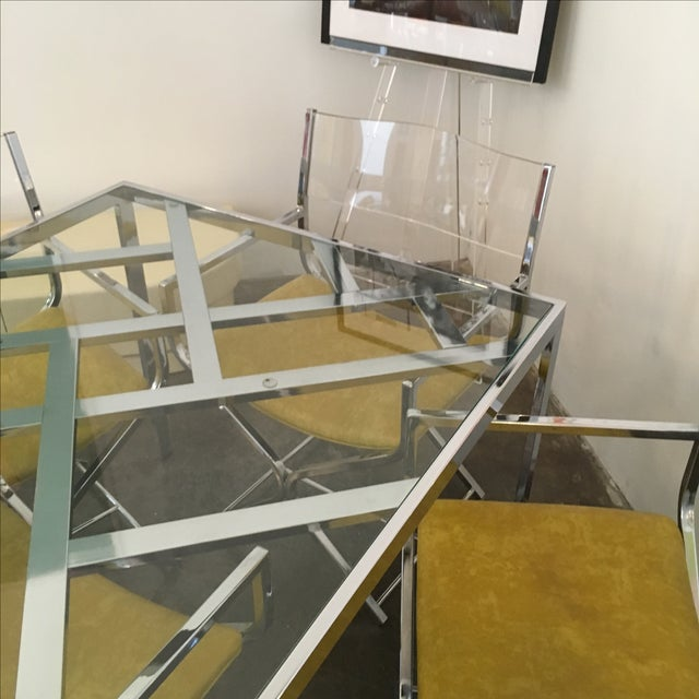 Chrome and Glass Game and or Dining Table and Four Chrome and Lucite Armchairs - Image 8 of 11