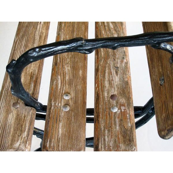 Art Nouveau A Long & Well-Crafted French Art Nouveau Pine Garden Bench For Sale - Image 3 of 5