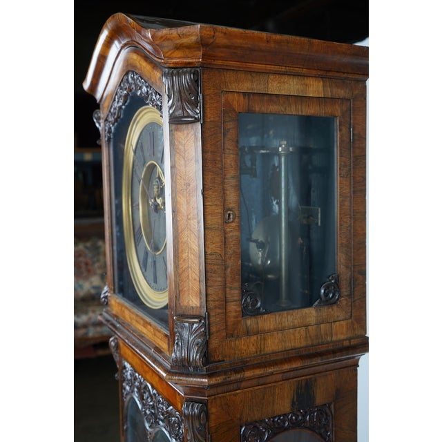 19th Century Austrian Baroque Style Tall Case Clock with Open Escapement For Sale In Los Angeles - Image 6 of 9