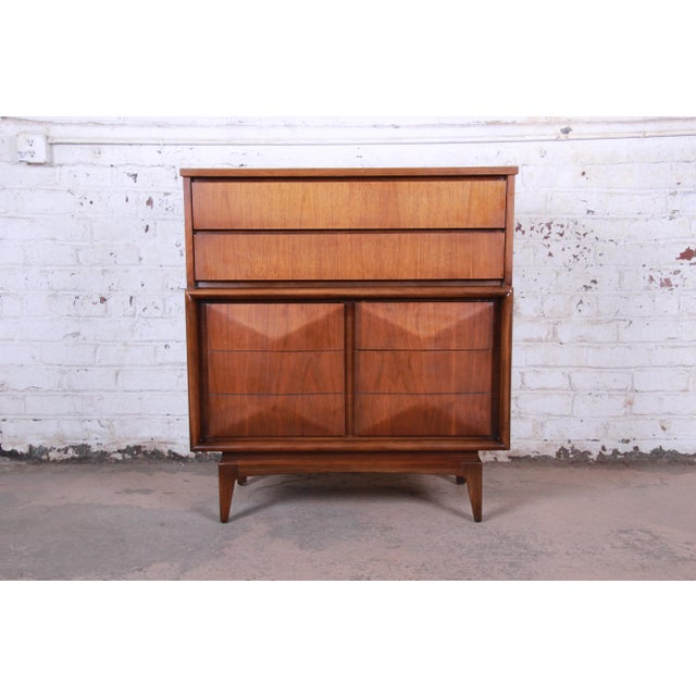 Mid-Century Modern Sculpted Walnut Diamond Front Highboy Dresser by United For Sale - Image 13 of 13