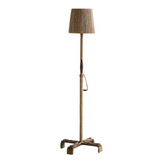 Wood + Rope French Floor Lamp For Sale