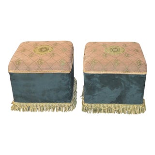 Hollywood Regency Style Multi Fabric Benches W/ Fringe Bottom - a Pair