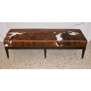 Louis XVI Black Bench With Cowhide Upholstery Preview
