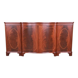 Baker Furniture Georgian Flame Mahogany Sideboard Buffet or Bar Cabinet, Newly Restored For Sale
